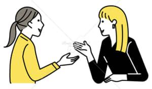 イラストデータ販売|ミーティングをする女性 2人 笑顔 イラストデータ
