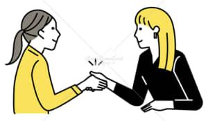 イラストデータ販売|ミーティングをする女性 2人 握手 イラストデータ