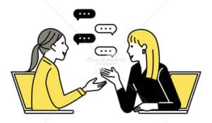 イラストデータ販売|テレワーク ミーティングをする女性 2人 イラストデータ