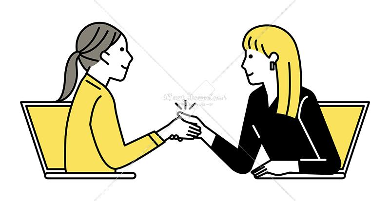 イラストデータ販売|テレワーク ミーティングをする女性 2人 握手 イラストデータ