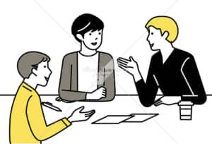 イラストデータ販売|ミーティングをする男性 3人 イラストデータ