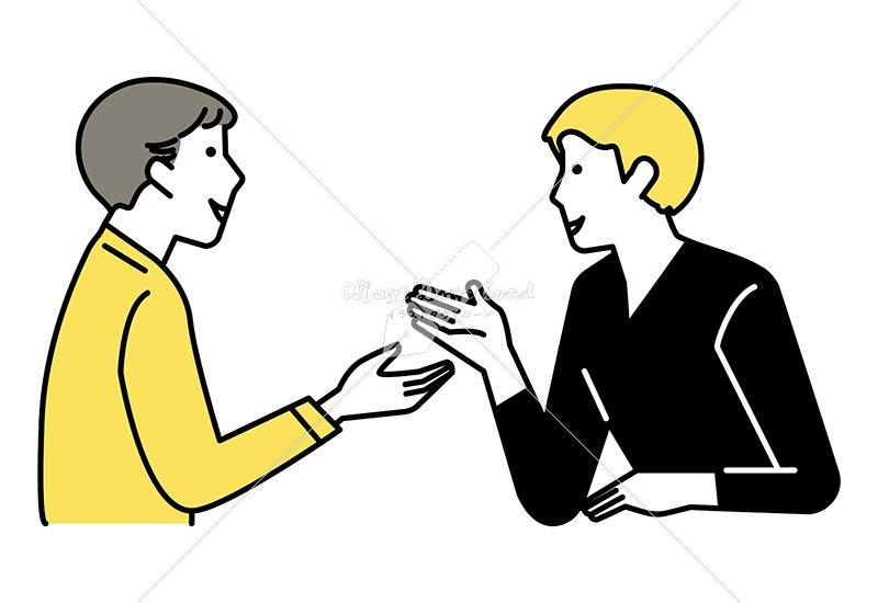 イラストデータ販売|ミーティングをする男性 2人 イラストデータ