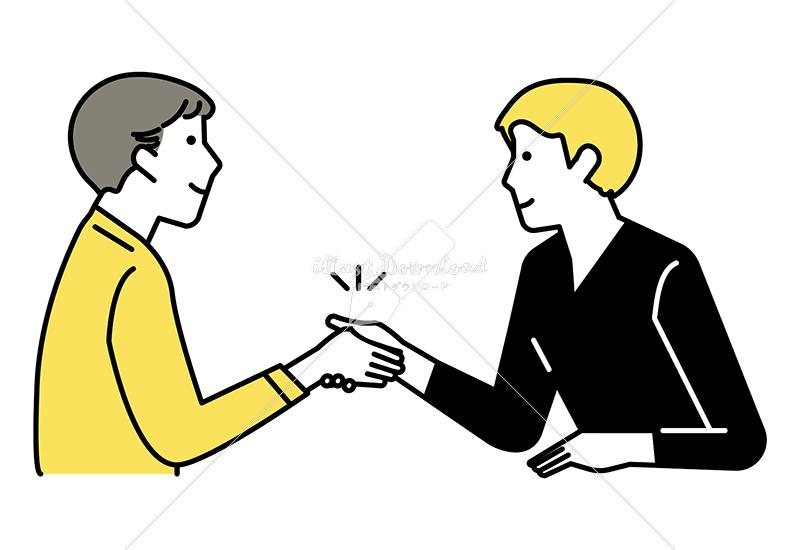 イラストデータ販売|ミーティングをする男性 2人 握手 イラストデータ