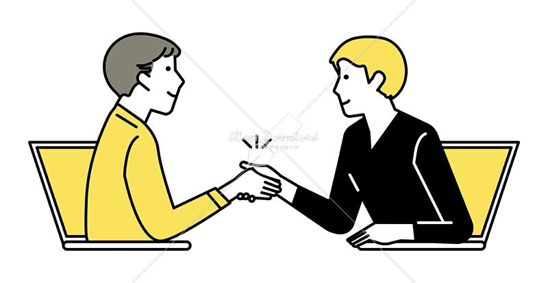 イラストデータ販売|テレワーク ミーティングをする男性 2人 握手 イラストデータ