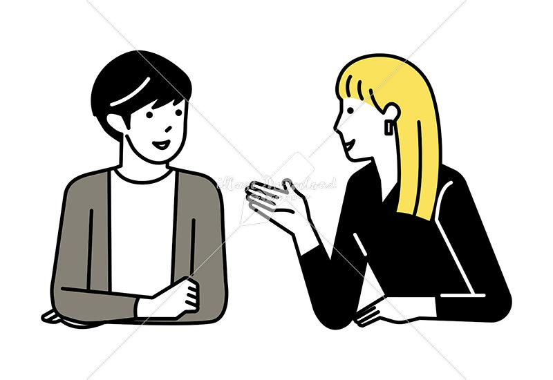 イラストデータ販売|会話をする男女 カップル 1 イラストデータ