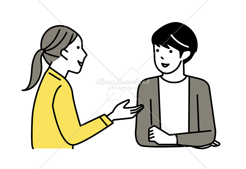イラストデータ販売|会話をする男女 カップル 2 イラストデータ