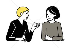 イラストデータ販売|会話をする男女 カップル 3 イラストデータ