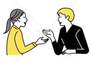 イラストデータ販売|会話をする男女 カップル 4 イラストデータ
