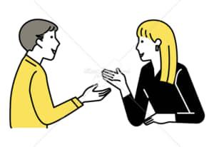 イラストデータ販売|会話をする男女 カップル 5 イラストデータ