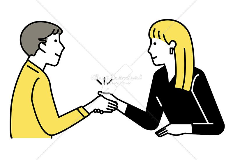 イラストデータ販売|握手をする男女 イラストデータ