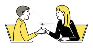 イラストデータ販売|テレワーク 握手をする男女 イラストデータ