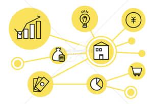 イラストデータ販売|社会とお金のつながり シンプルなアイコン イラストデータ