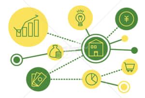イラストデータ販売|社会とお金のつながり シンプルなアイコン 黄色の緑色 イラストデータ