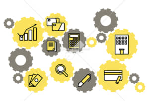 イラストデータ販売|お金と社会の繋がり 歯車 シンプルなアイコン イラストデータ
