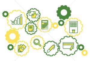イラストデータ販売|お金と社会の繋がり 歯車 シンプルなアイコン  黄色の緑色 イラストデータ