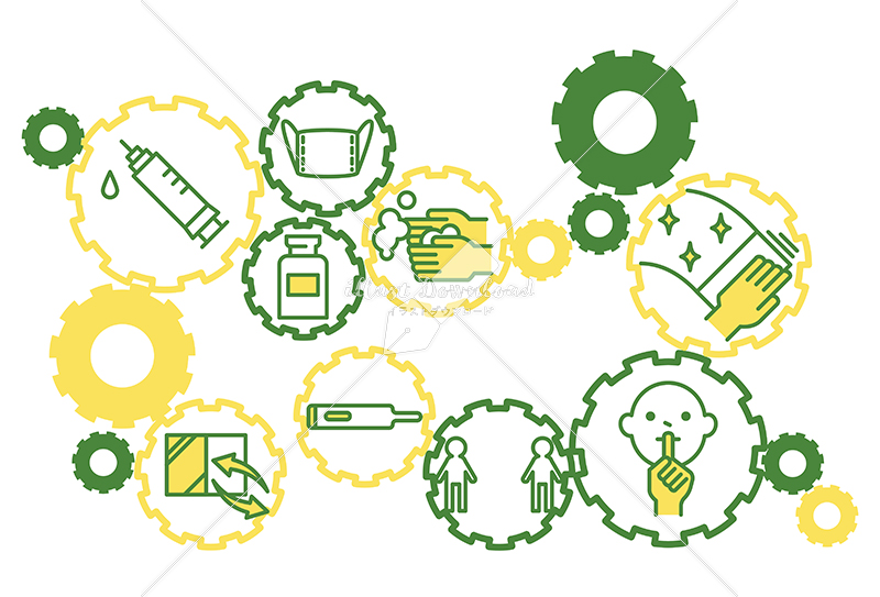 イラストデータ販売|ウイルス抑制の歯車 社会とワクチン接種 シンプル 黄色と緑色 イラストデータ