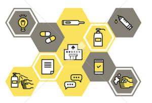 イラストデータ販売|医療と予防 ウイルス防止のイメージ シンプル イラストデータ