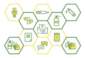 イラストデータ販売|医療と予防 ウイルス防止のイメージ シンプル 黄色と緑色 イラストデータ