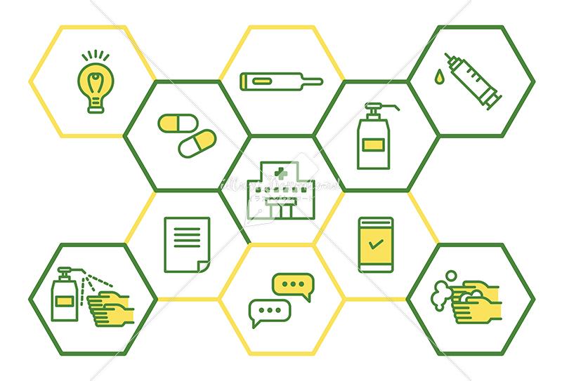 イラストデータ販売 医療と予防 ウイルス防止のイメージ シンプル 黄色と緑色 イラストデータ