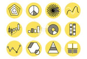 イラストデータ販売|様々なグラフ シンプルなデザイン イラストデータ