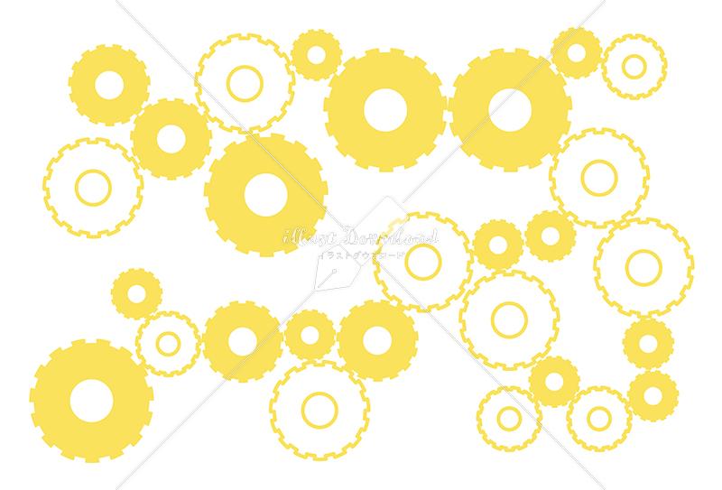 イラストデータ販売|シンプルな歯車の背景 黄色 イラストデータ