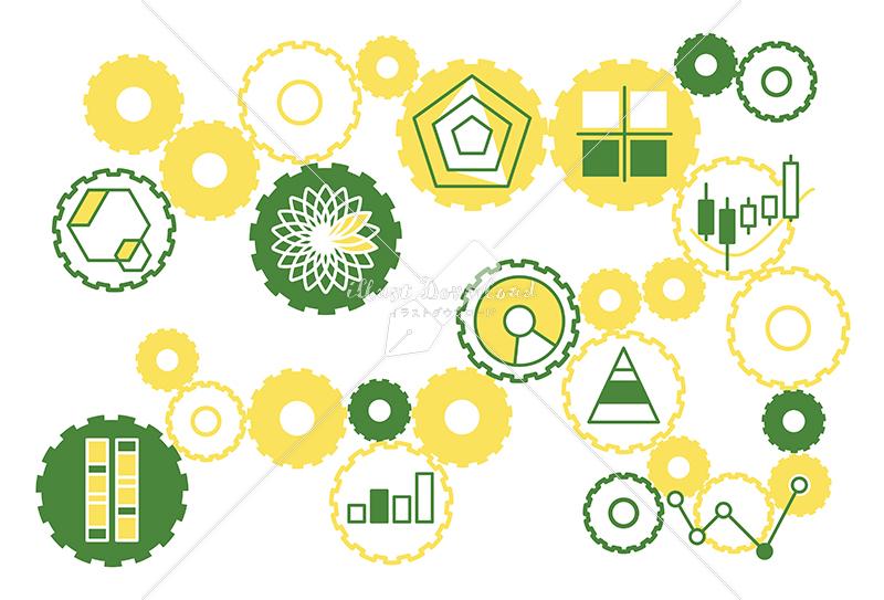 イラストデータ販売|シンプルなグラフのイラストと歯車 黄色と緑色 イラストデータ