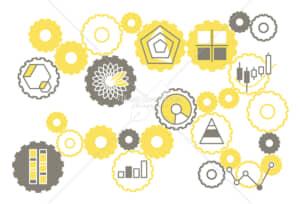 イラストデータ販売|シンプルなグラフのイラストと歯車 グレーと黄色 イラストデータ