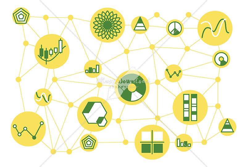 イラストデータ販売|シンプルなグラフと情報テクノロジー イラストデータ