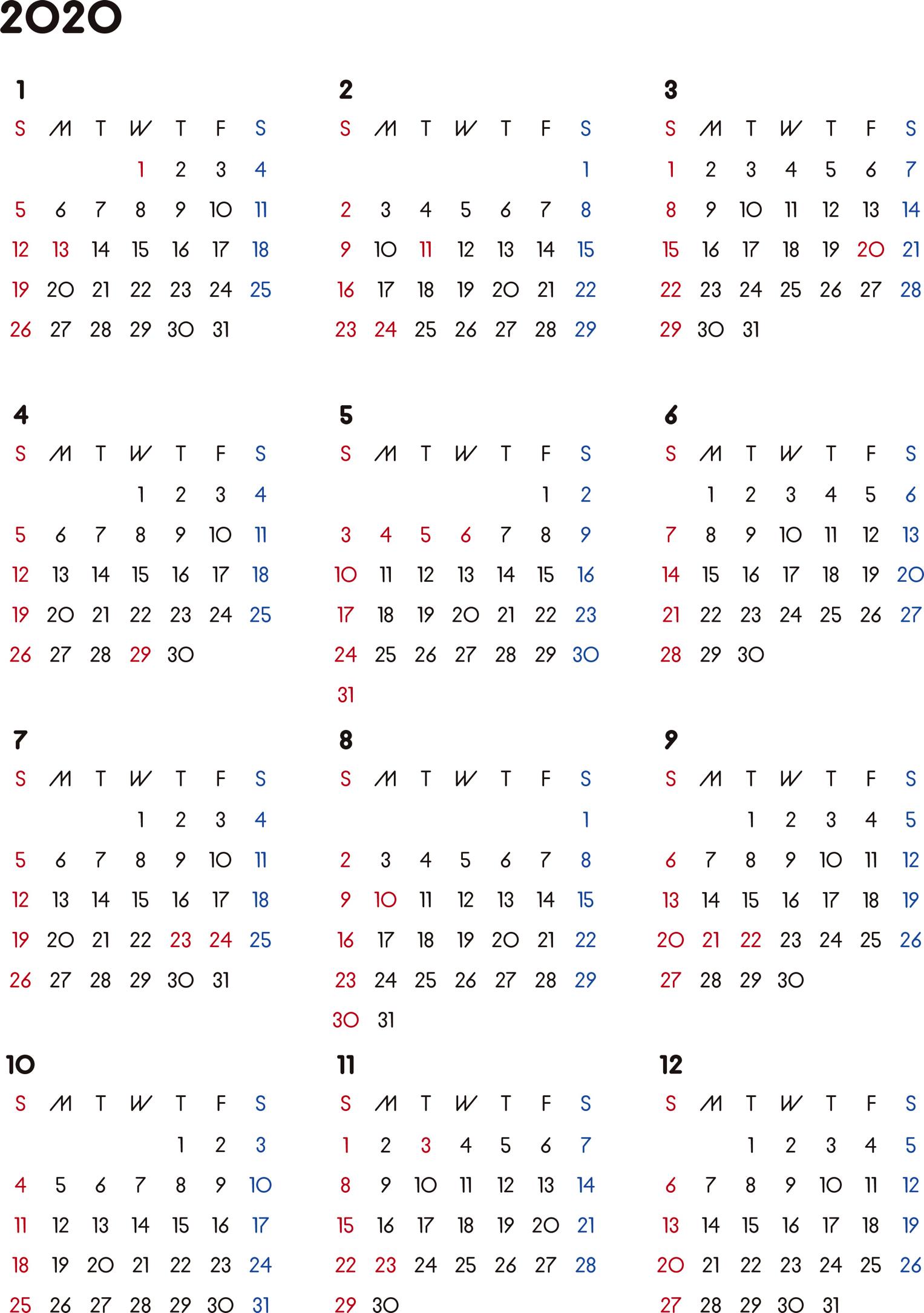 カレンダー 2020 無料シンプルなカレンダー A4 背景なし日曜