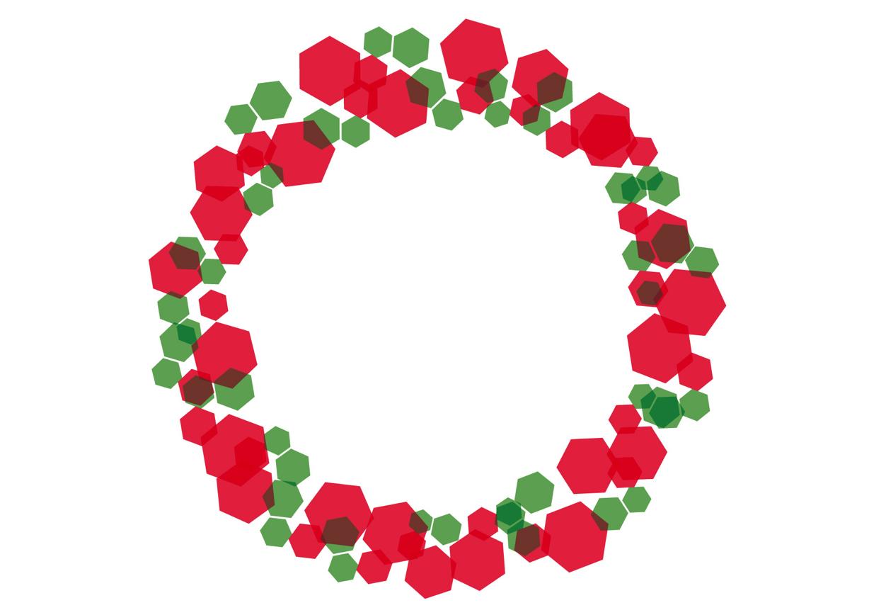 可愛いイラスト無料 六角形 キラキラ フレーム クリスマスカラー