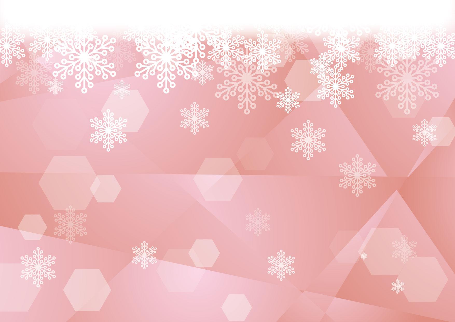 可愛いイラスト無料 雪の結晶 ガラス ピンク 背景 Free