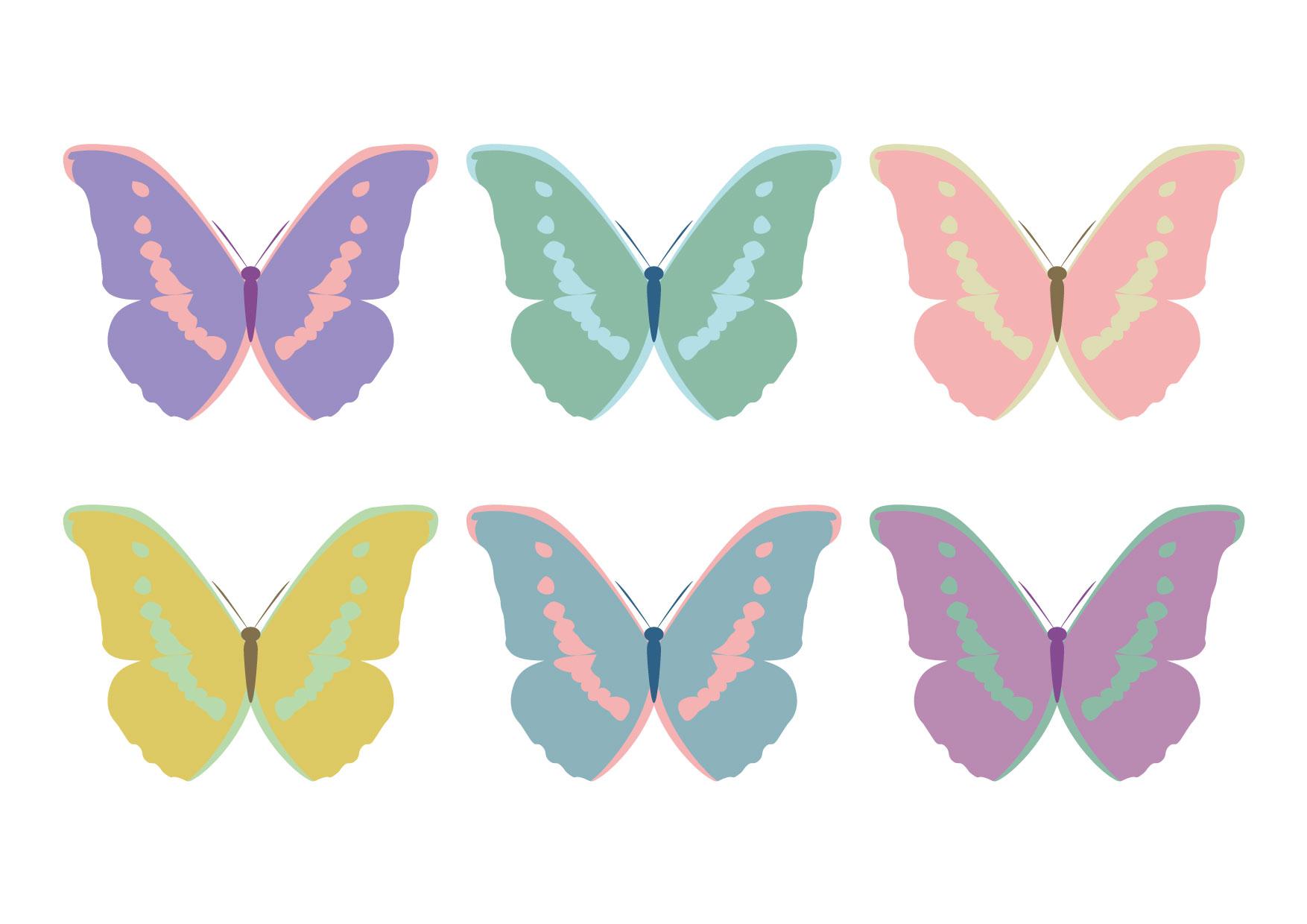 可愛いイラスト無料|蝶 6匹 ガーリー − free illustration 6 butterflies butterflies