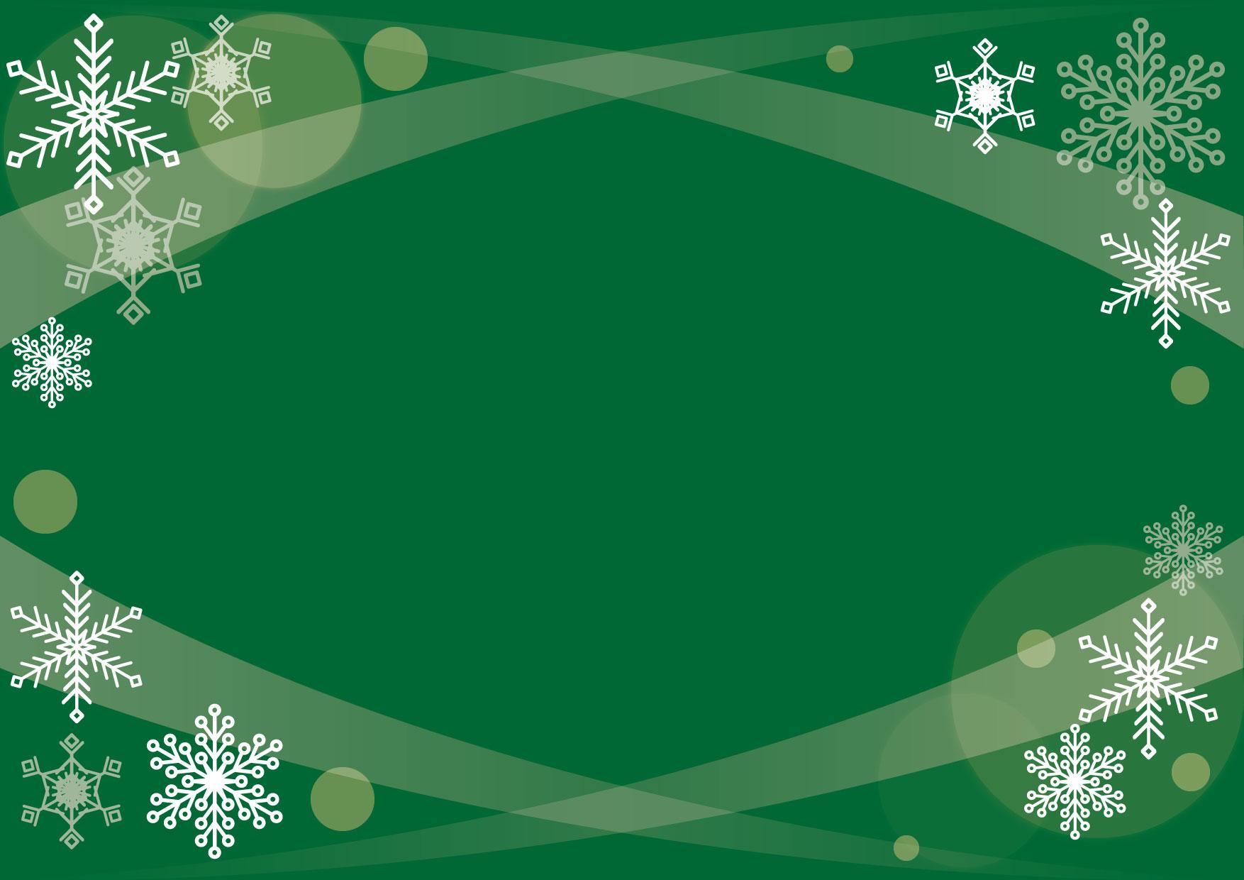 可愛いイラスト無料|背景 クリスマス 雪の結晶 緑 − free illustration Background Christmas Snowflake Green