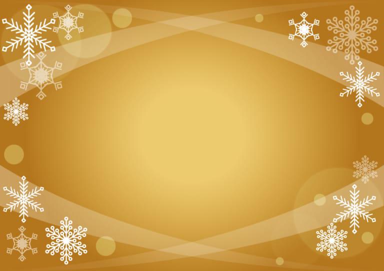 クリスマス ゴールド 雪の結晶 背景 イラスト 無料