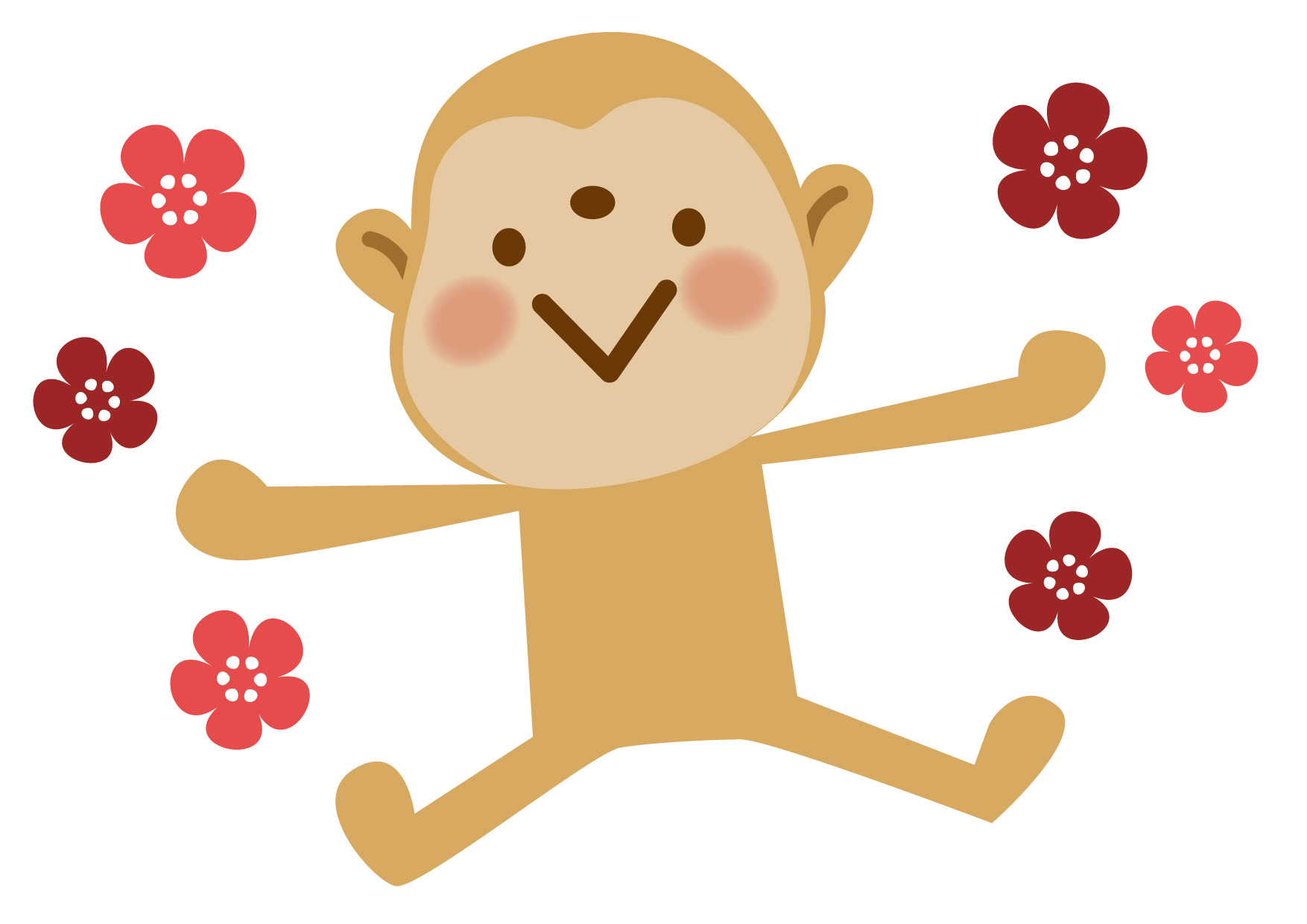 可愛いイラスト無料|さる 梅 − free illustration New Year's Monkey plums