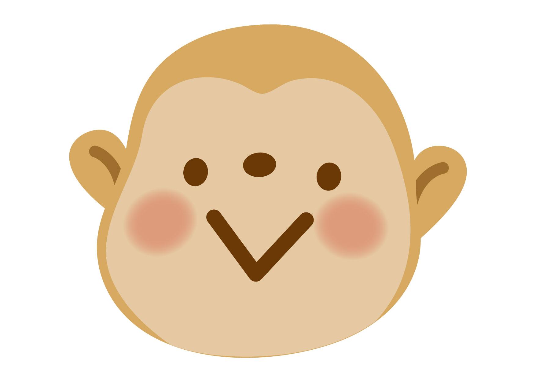 可愛いイラスト無料|さる 顔 アップ − free illustration Monkey face up