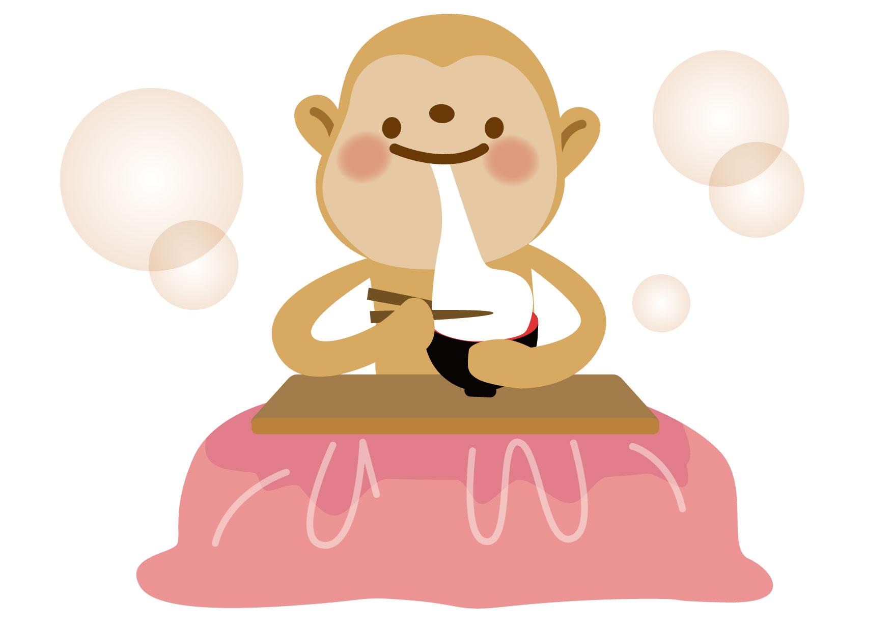 お正月イラスト無料|さる おもち こたつ − free illustration New Year's Monkey Omochi Kotatsu