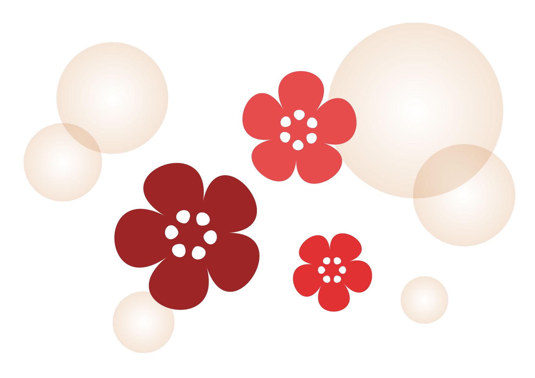 可愛いイラスト無料|梅 花 ほんわか − free illustration plum flower