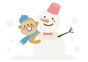 雪だるま 猿 リボン イラスト 無料
