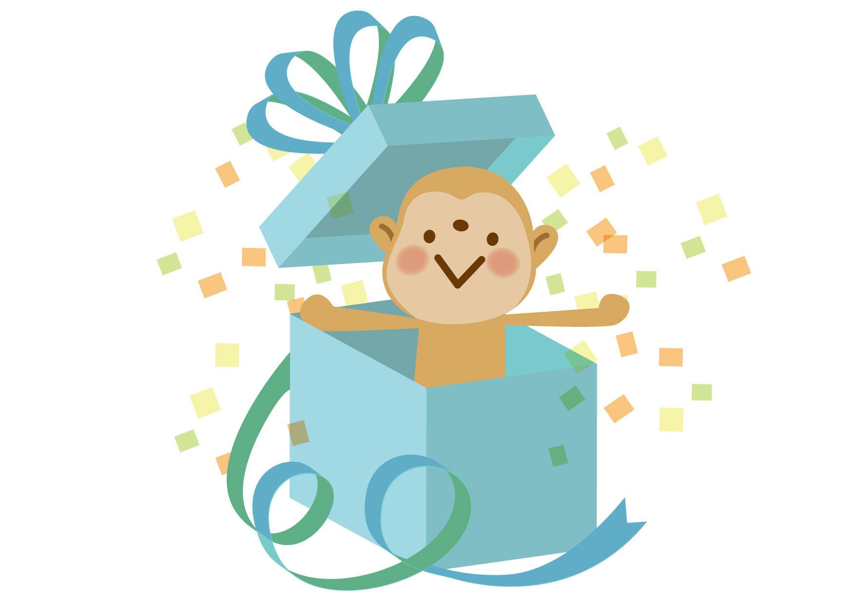 可愛いイラスト無料|さる サプライズ プレゼント リボン ブルー − free illustration Monkey Surprise Present Ribbon Blue