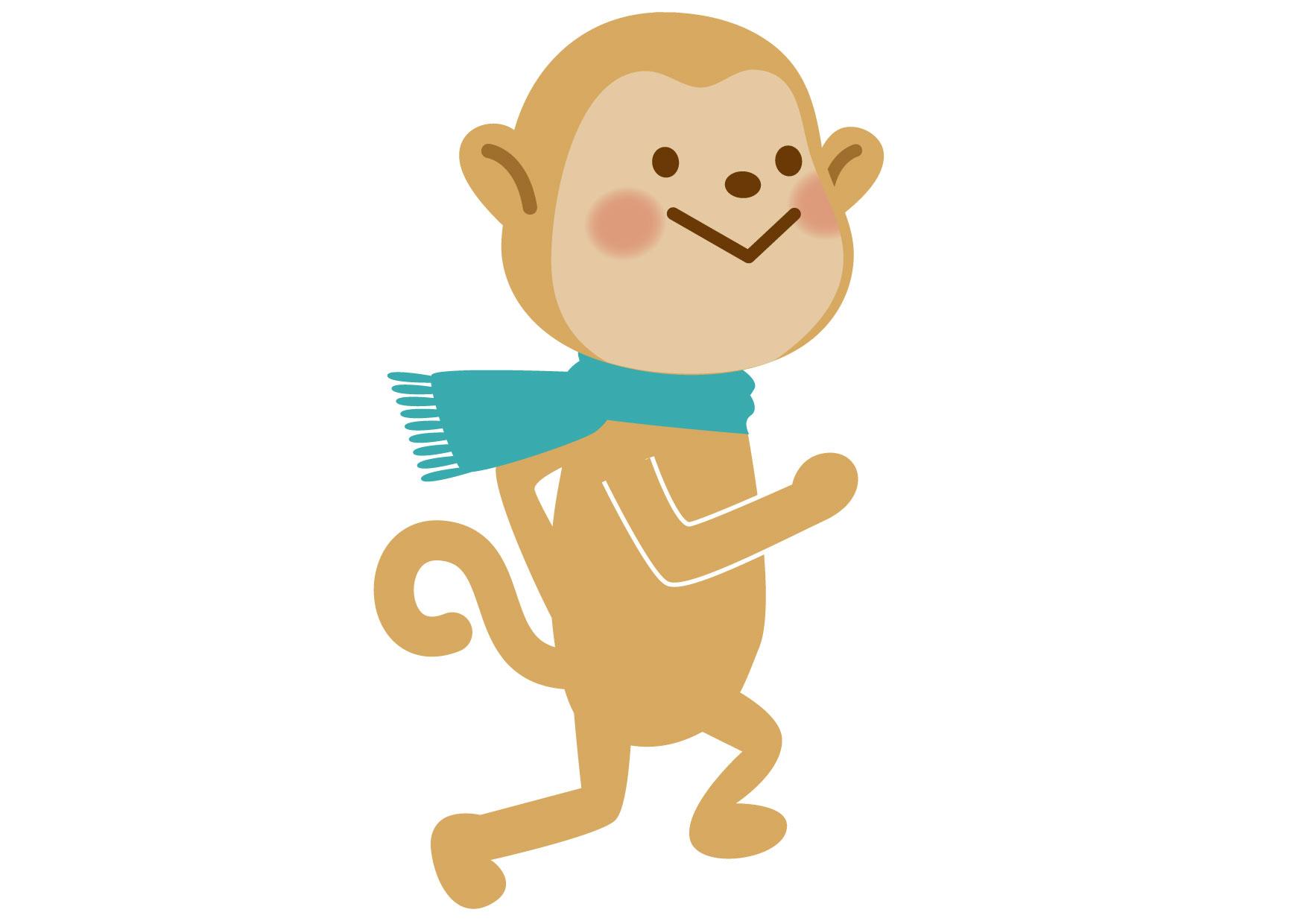 可愛いイラスト無料|猿 子供1 − free illustration Monkey child