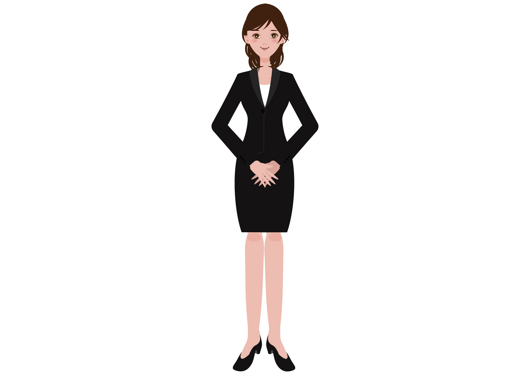 可愛いイラスト無料|女性 スーツ OL ポーズ 手 全身 − free illustration Female suit pose hand whole body