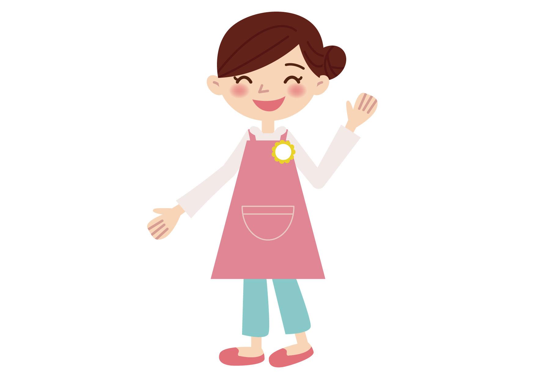 可愛いイラスト無料 保育士 女性 片手 ポーズ − free illustration Nursery school lady one hand pose
