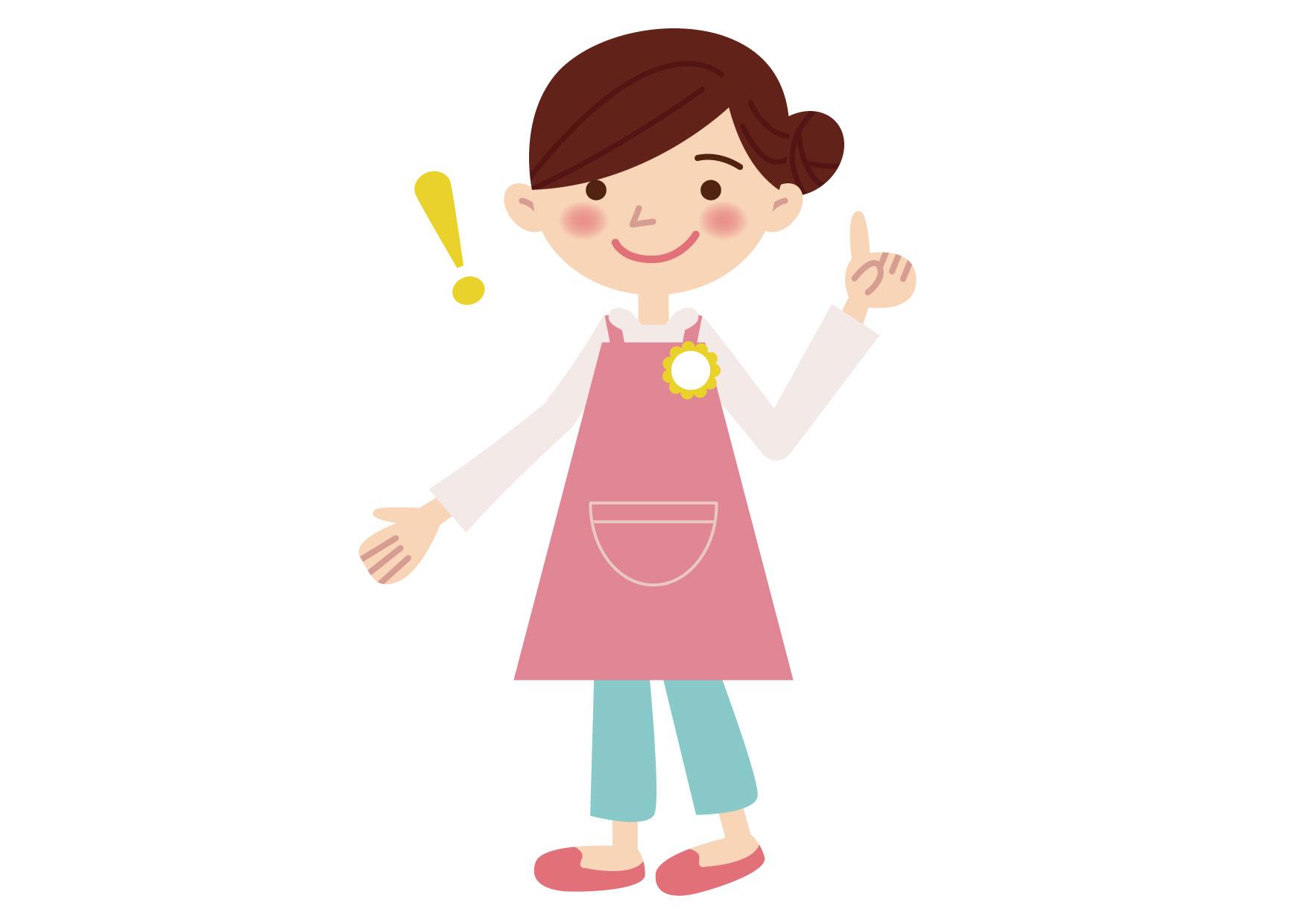 可愛いイラスト無料|保育士 女性 チェックポイント ポーズ − free illustration Nursery school woman checkpoint pose