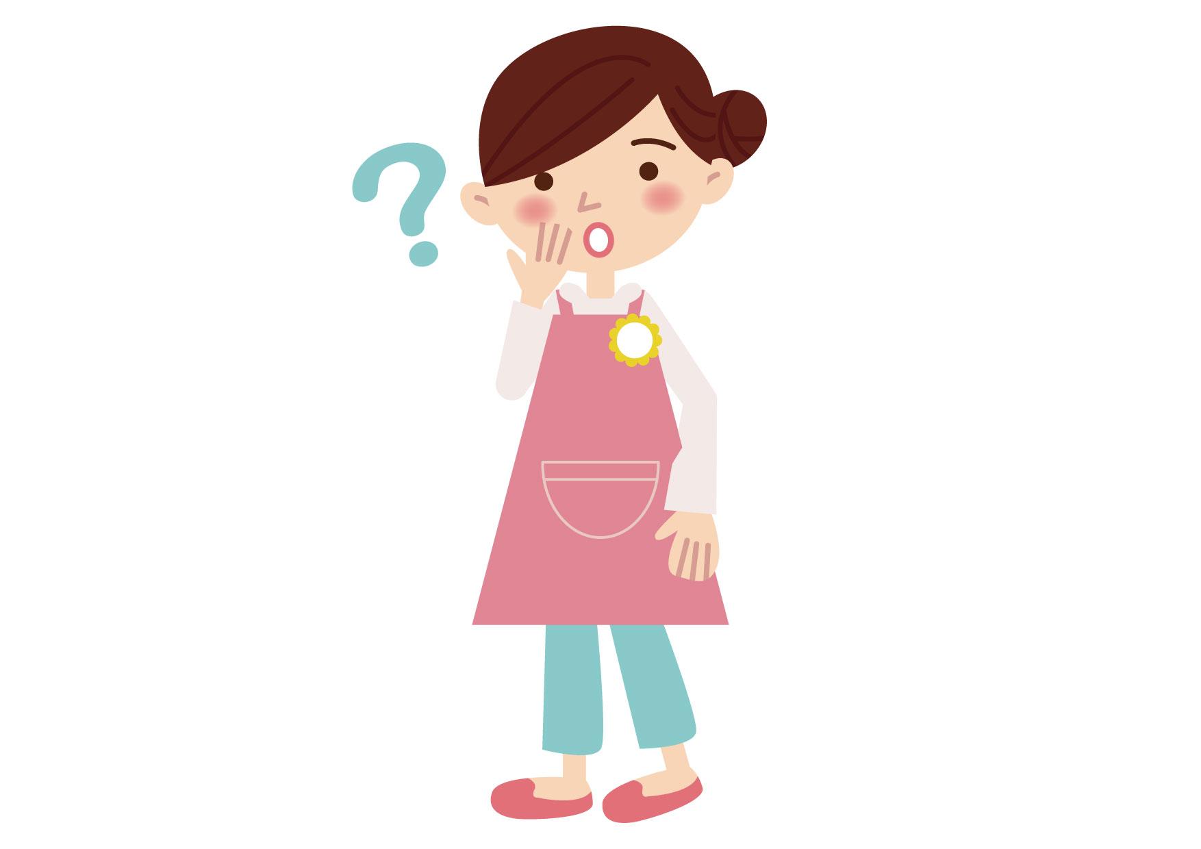 可愛いイラスト無料|保育士 女性 悩む ポーズ − free illustration Nursery school lady worried pose