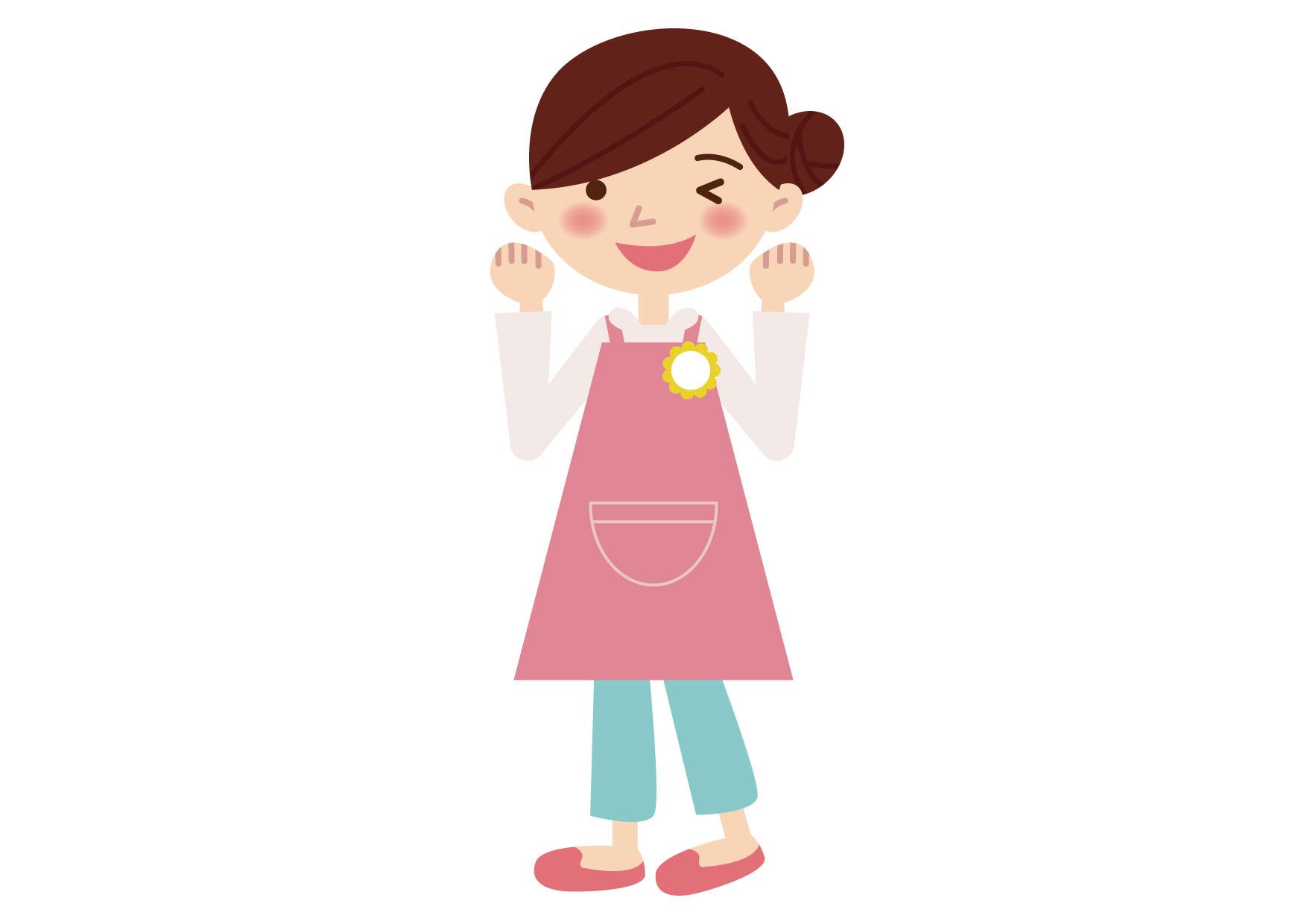 可愛いイラスト無料|保育士 女性 ガッツポーズ − free illustration Childcare woman guts pose