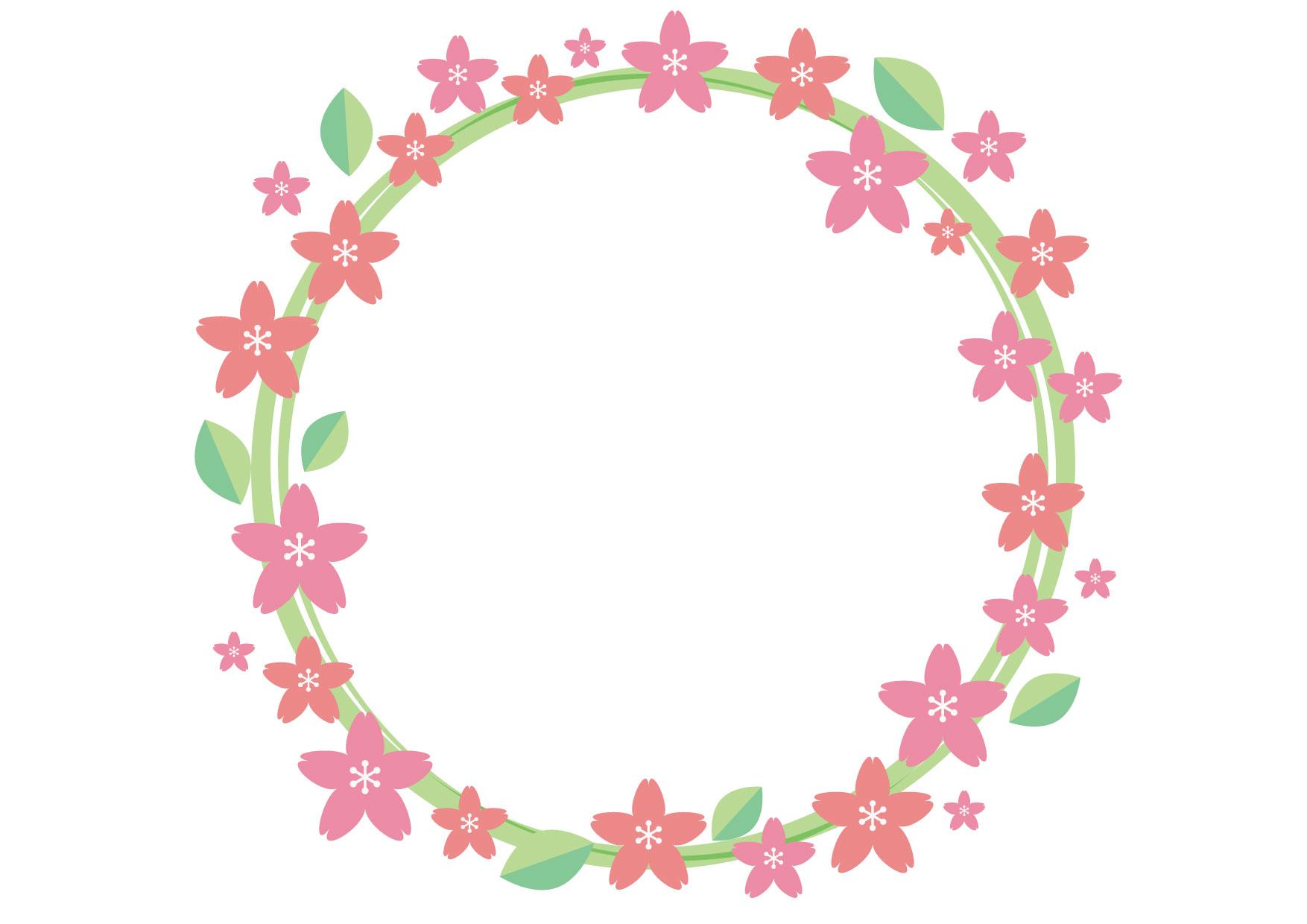 桜 フレーム 丸 背景 イラスト 無料