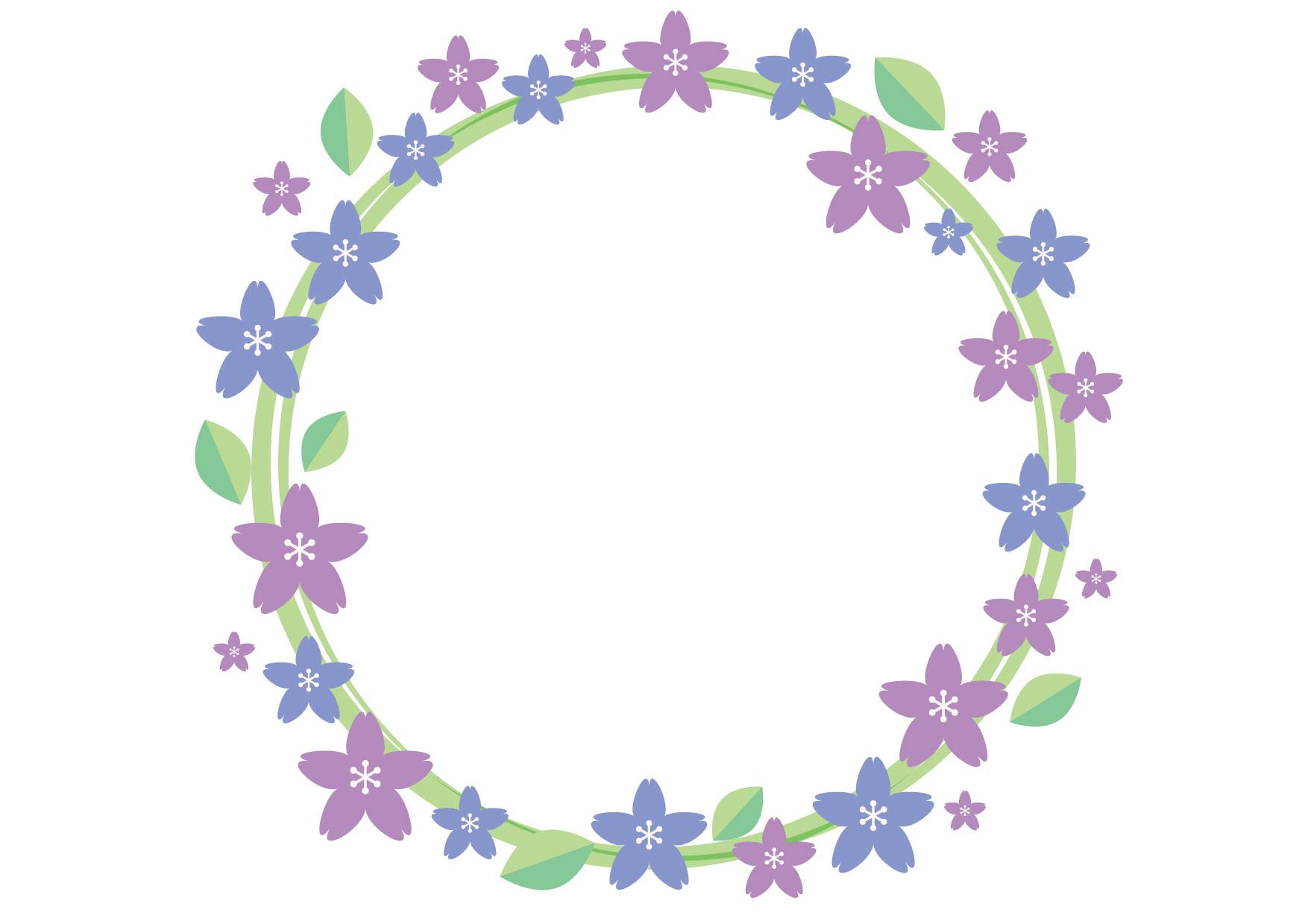 芝桜 フレーム 背景 青 イラスト 無料