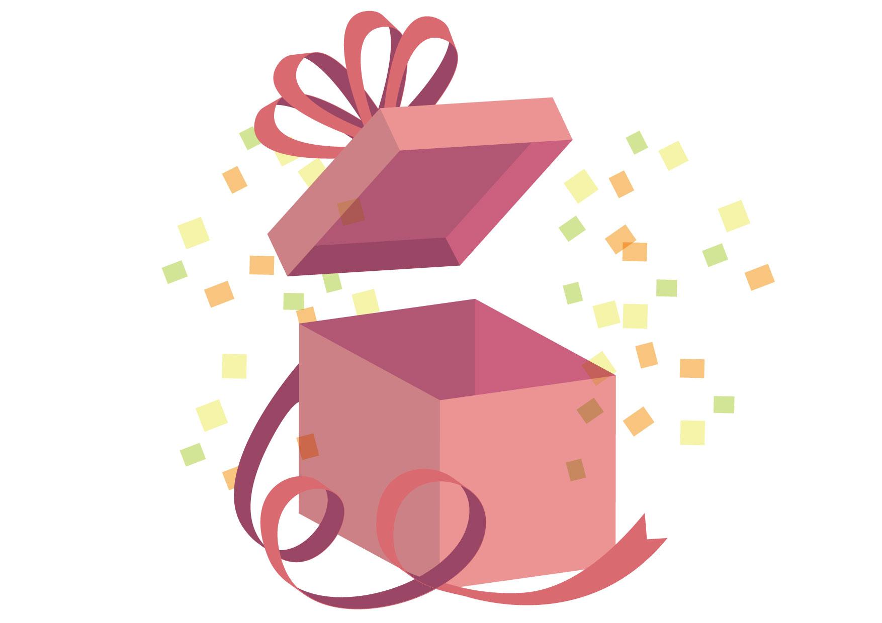 サプライズ プレゼント ピンク リボン イラスト 無料 | イラストダウンロード