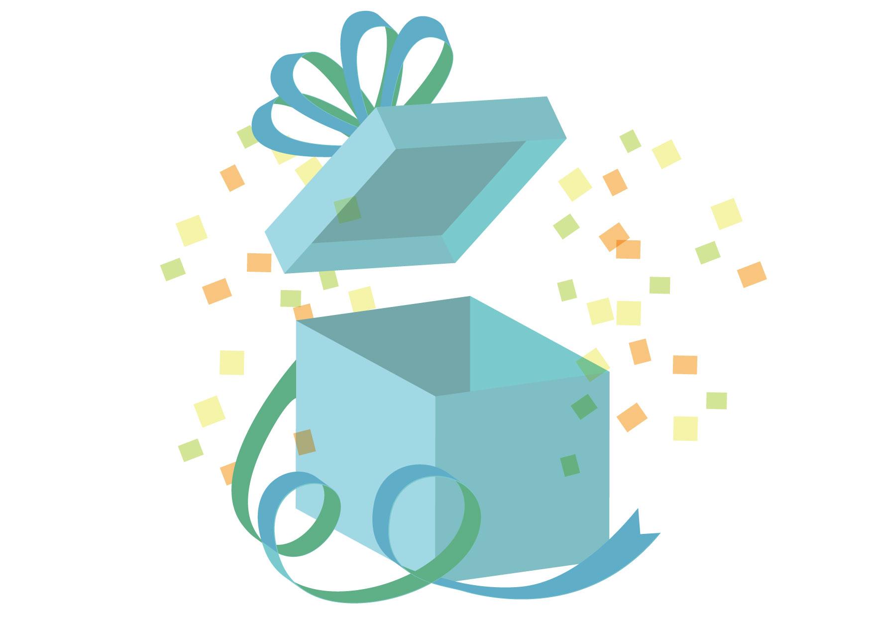 可愛いイラスト無料|サプライズ プレゼント ブルー リボン − free illustration Surprise present blue ribbon